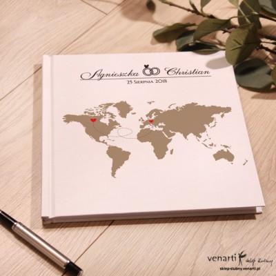 Mapa świata Ślubny, biały album, księga gości