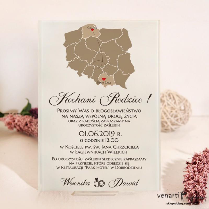 Mapa Polski Szklane zaproszenia dla Rodziców