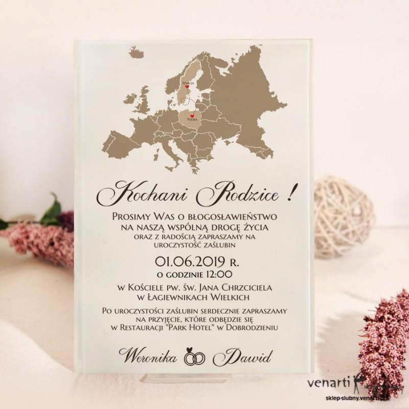 Mapa Europy Szklane zaproszenia dla Rodziców