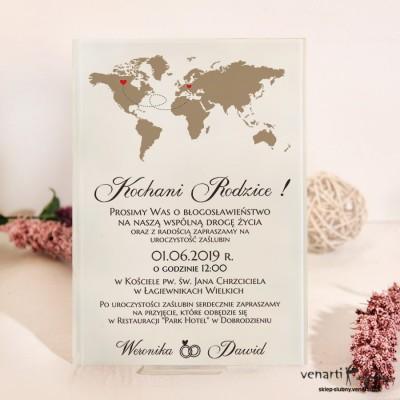 Mapa świata Szklane zaproszenia dla Rodziców