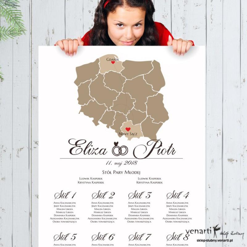 Mapa Polski Ślubny plan stołu plakat