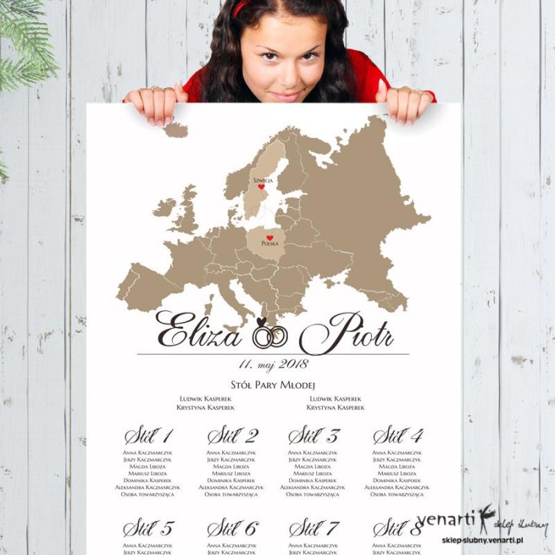 Mapa Europy Ślubny plan stołu plakat