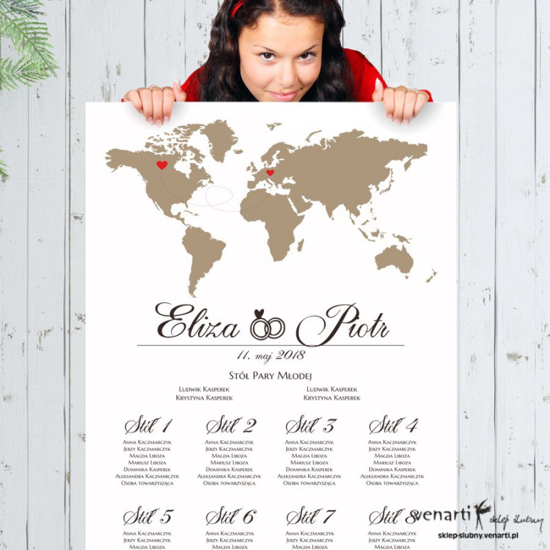 Mapa świata Ślubny plan stołu plakat