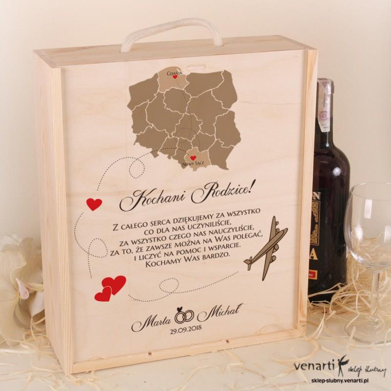 Mapa Polski Skrzynka na wino + 2 kieliszki