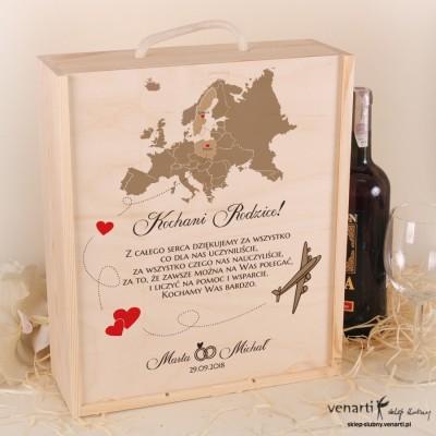 Mapa Europy Skrzynka na wino + 2 kieliszki