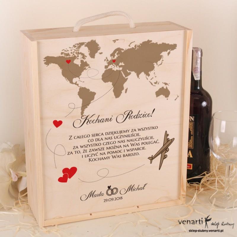 Mapa świata Skrzynka na wino + 2 kieliszki
