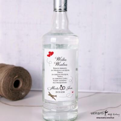 Samoloty z sercami Ślubne etykiety na alkohol
