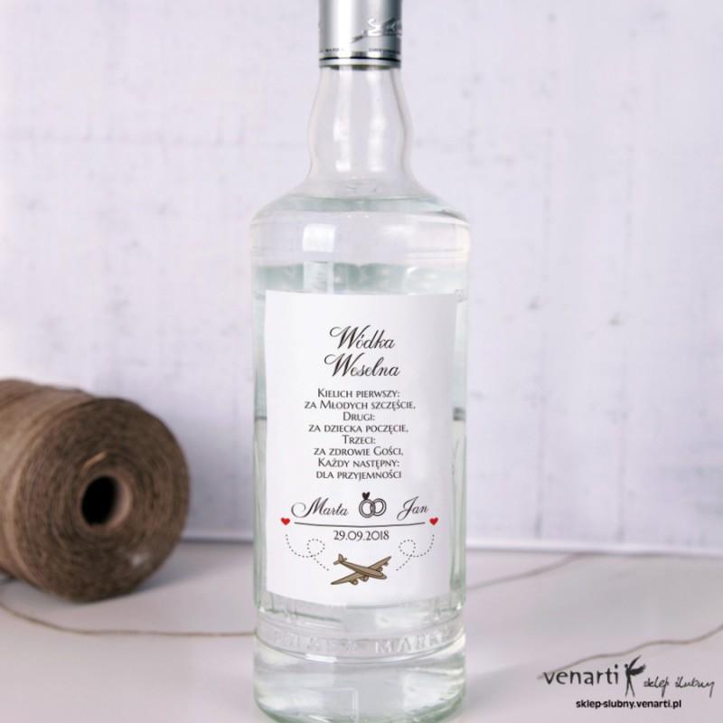 Samolot Ślubne etykiety na alkohol