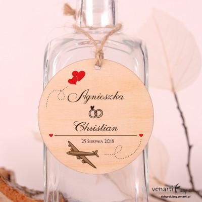 Samolot z sercami Ślubne drewniane zawieszki