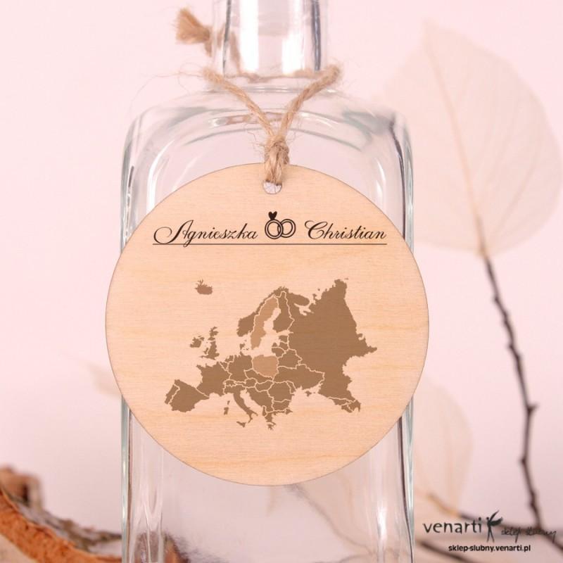 Mapa Europy Ślubne drewniane zawieszki