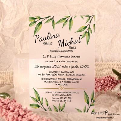Eukaliptus C6 Zaproszenia ślubne przezroczyste
