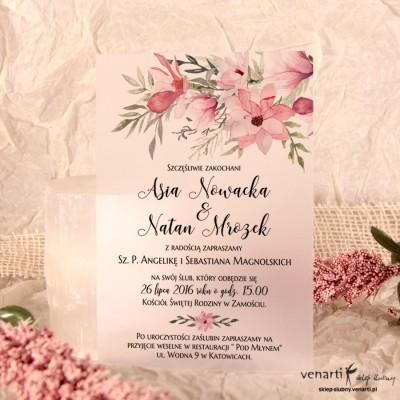 Magnolie C6 Zaproszenia ślubne przezroczyste