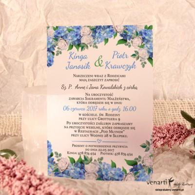 Hortensje C6 Zaproszenia ślubne przezroczyste