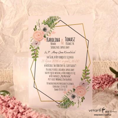Anemone Zaproszenia ślubne przezroczyste