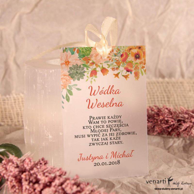 Pomarańczowe kwiaty Zawieszki ślubne przezroczyste