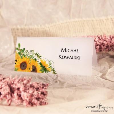 Słoneczniki Winietki ślubne przezroczyste