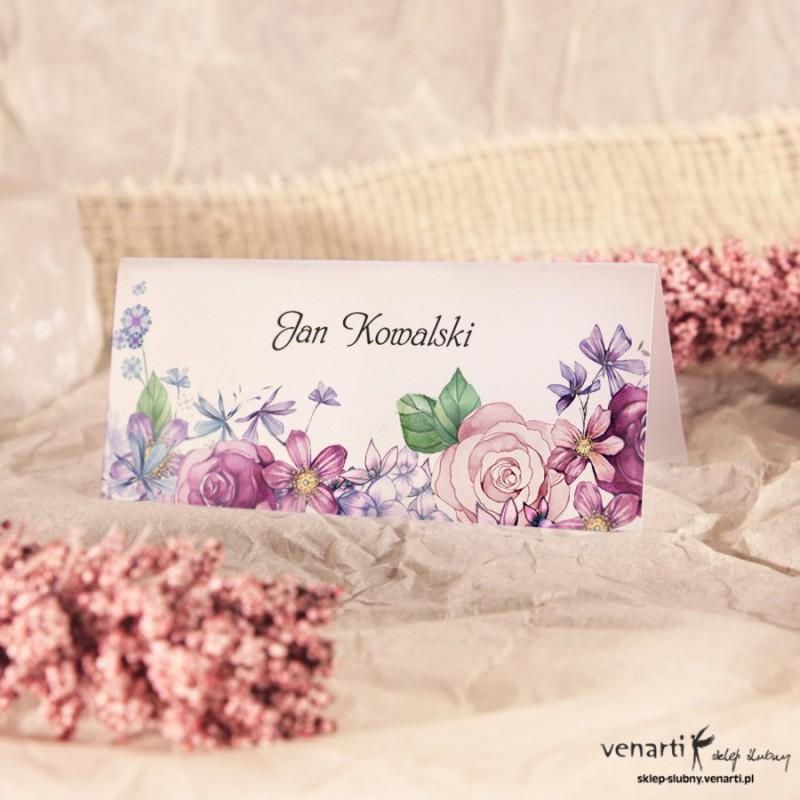 Rustykalne kwiaty Winietki ślubne przezroczyste