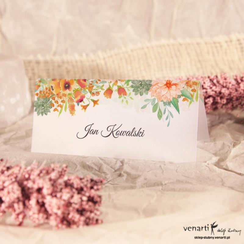 Pomarańczowe kwiaty Winietki ślubne przezroczyste