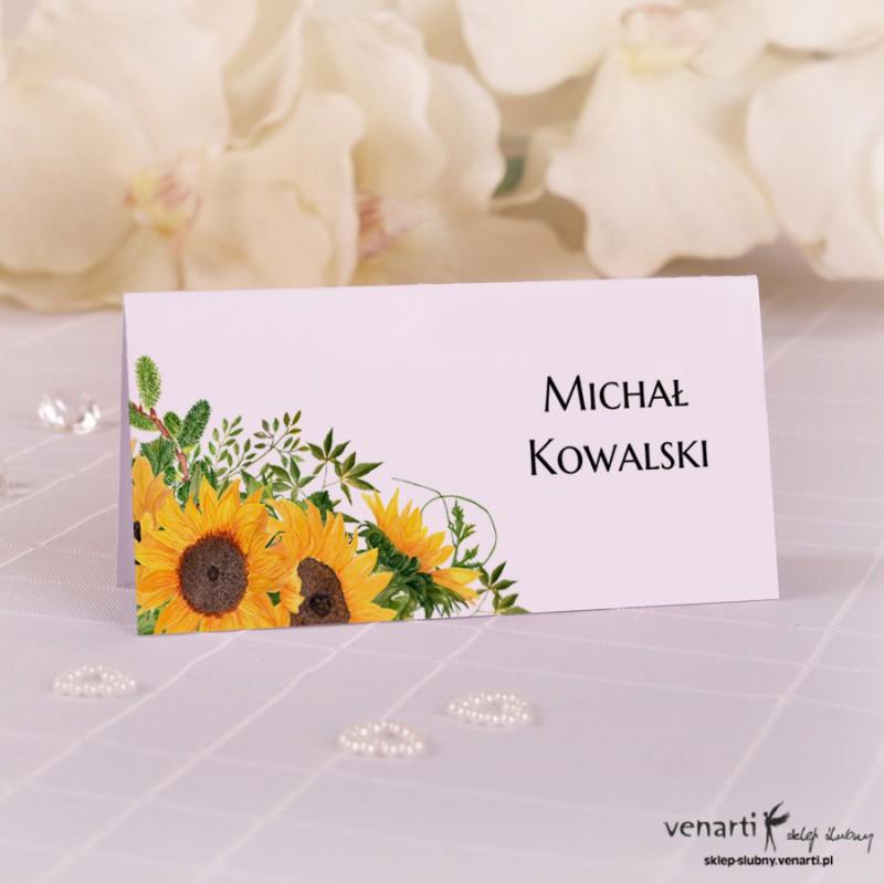 Słoneczniki Ślubne winietki papierowe