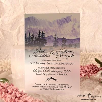Góry Zaproszenia ślubne przezroczyste