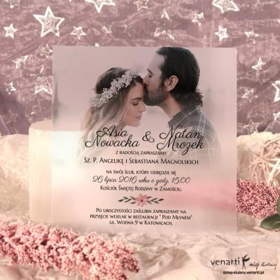 Zaproszenia ślubne przezroczyste ze zdjęciem