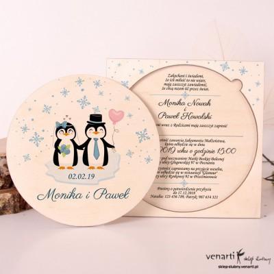 Pingwiny, drewniane zaproszenia ślubne