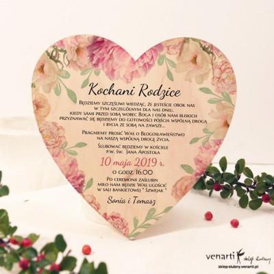 Piwonie Drewniane zaproszenie dla Rodziców w kształcie serca