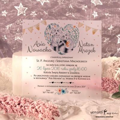 Para szopów Zaproszenia ślubne przezroczyste