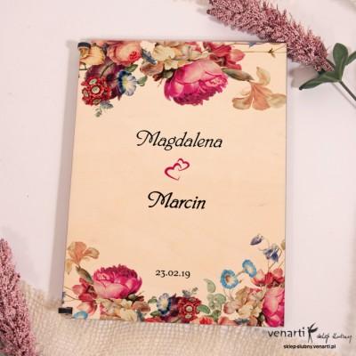 Eko kwiaty Drewniane etui do szklanych zaproszeń