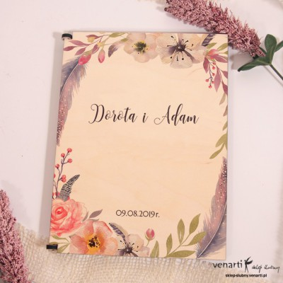 Kwiaty boho Drewniane etui do szklanych zaproszeń ślubnych
