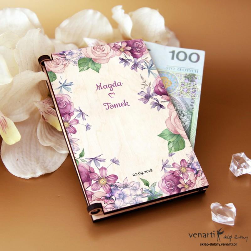 Rustykane kwiaty Pudełko, koperta na pieniądze