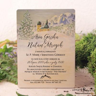 Krajobraz gór Drewniane zaproszenia ślubne