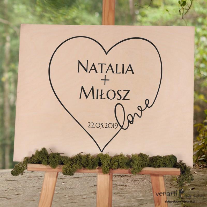 Drewniana tablica powitalna Serce