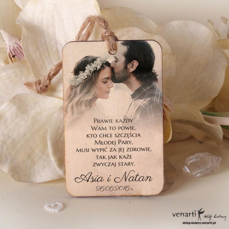 Ślubne drewniane zawieszki ze zdjęciem