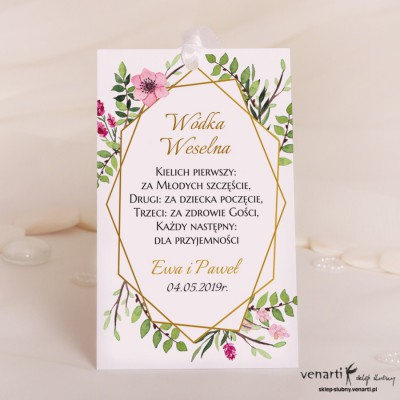 Ślubne zawieszki na wódkę Ramka geometryczna z kwiatami