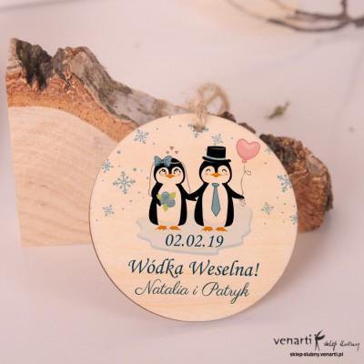 Pingwiny Ślubne, drewniane zawieszki