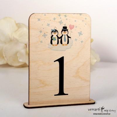 Pingwiny Ślubne drewniane numerki na stół