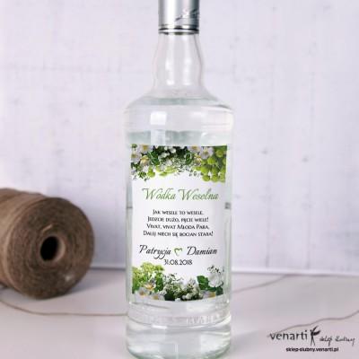 Białe kwiaty Ślubne etykiety na alkohol