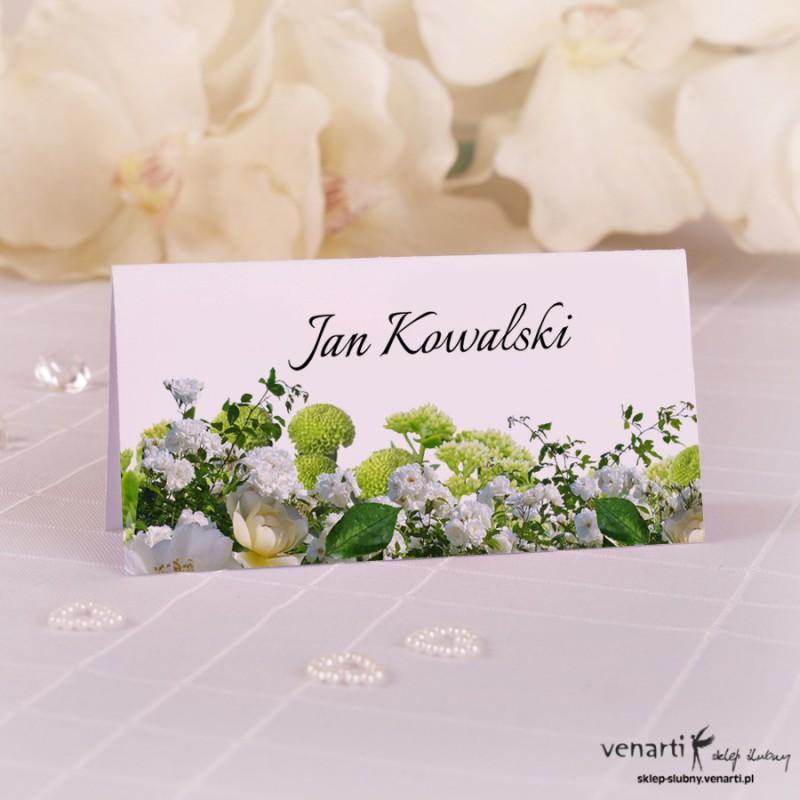 Białe kwiaty Ślubne winietki papierowe