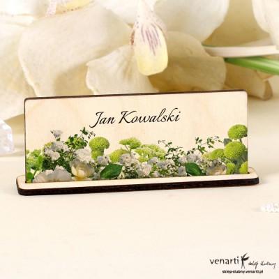 Winietki drewniane Białe kwiaty
