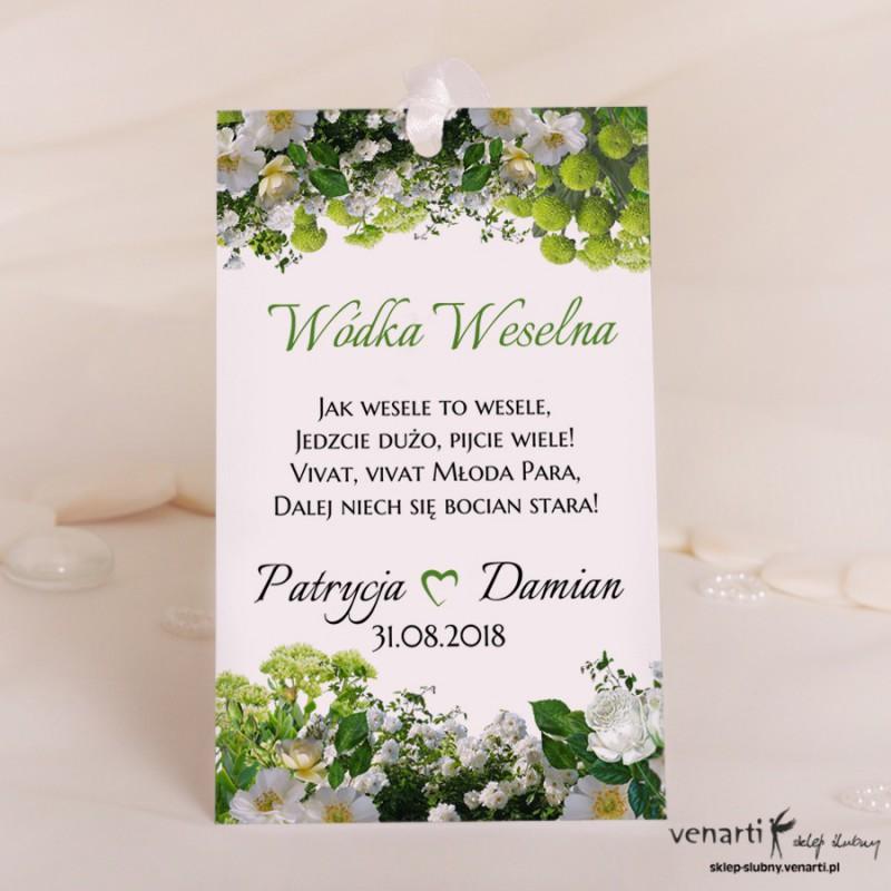 Białe kwiaty Ślubne zawieszki na wódkę