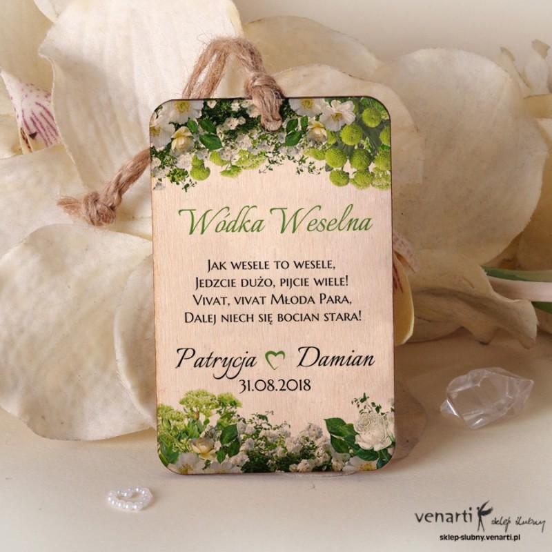 Białe kwiaty Drewniane zawieszki ślubne