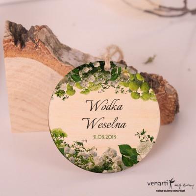 Białe kwiaty Ślubne, drewniane zawieszki w kształcie koła