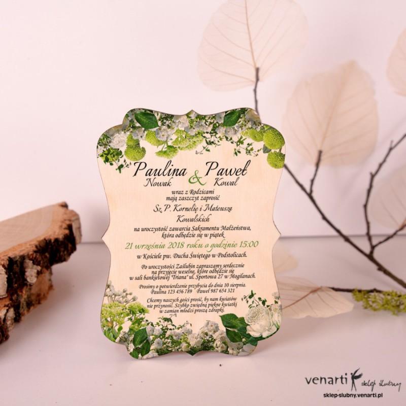 Białe kwiaty Drewniane zaproszenia ślubne