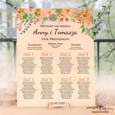 Pomarańczowe kwiaty Drewniany plan stołów