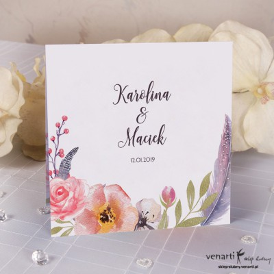 Kwiaty boho K4 Zaproszenia ślubne