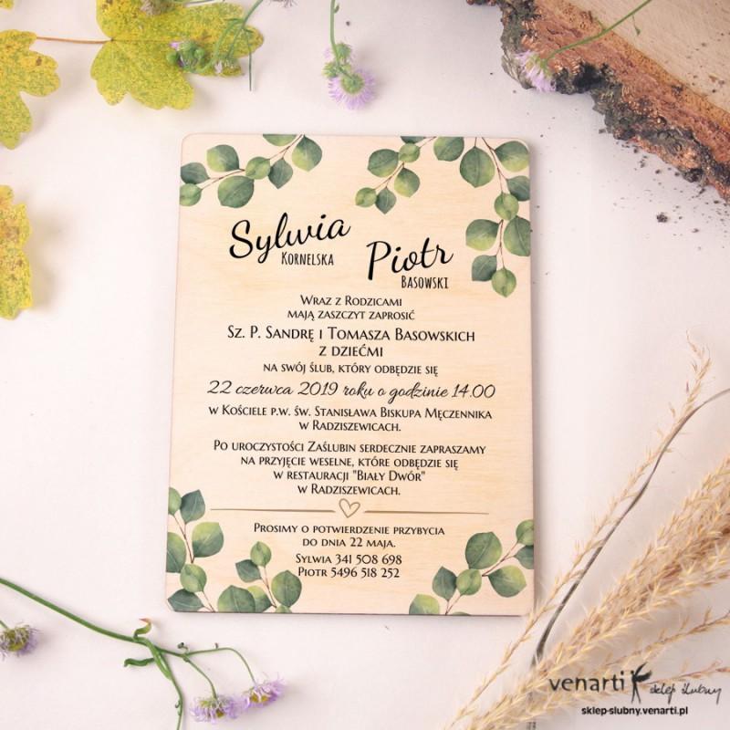 Liście eukaliptusa Drewniane zaproszenia ślubne