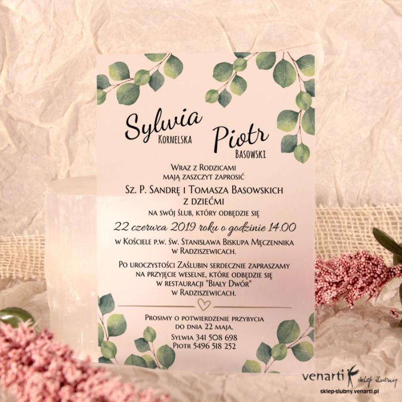 Liście eukaliptusa Zaproszenia ślubne przezroczyste
