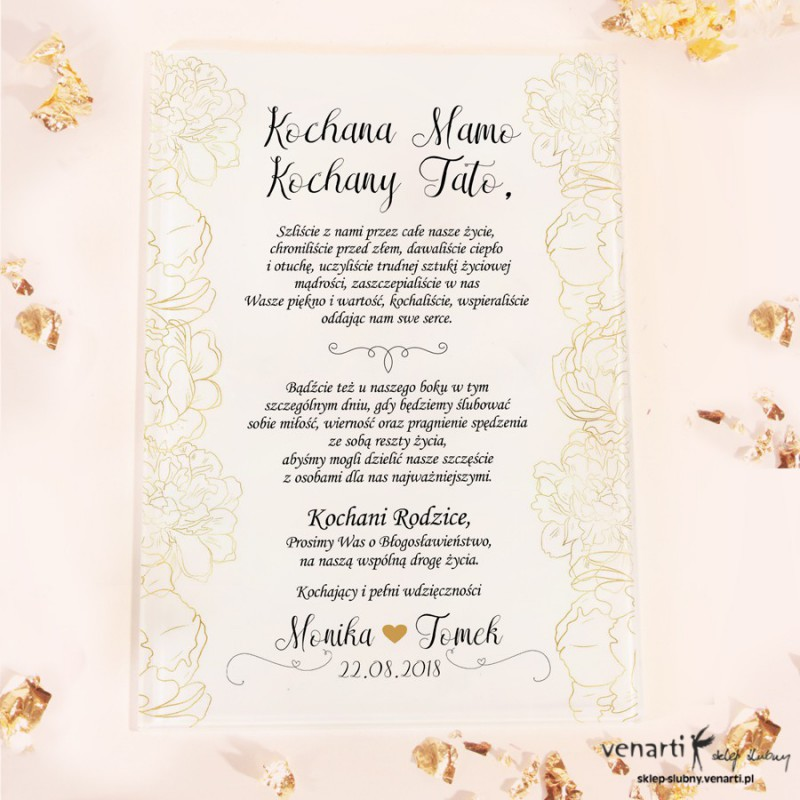 Złote kwiaty Szklane zaproszenia dla Rodziców