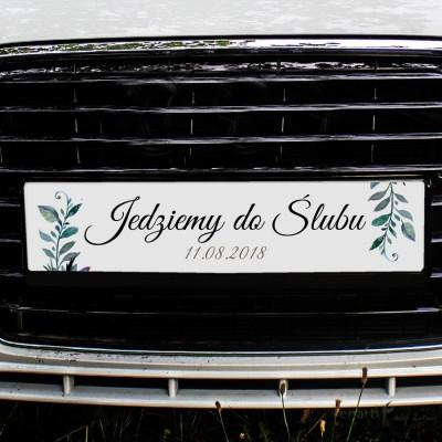 Zielone liście tablice rejestracyjne ślubne